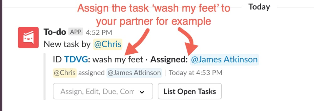 Assign wash my feet task to partner to-do list